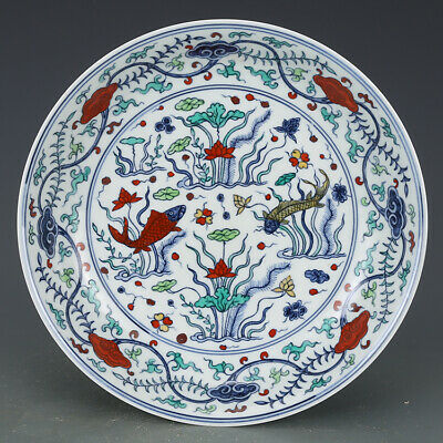 Vivid Old Chinese Antique Ming Dou Polychrome Porcelain Fish Plate