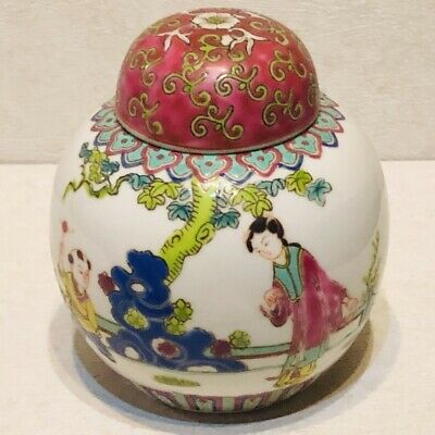 Chinese ANTIQUE Liling Porcelain Famille Verte Lidded Jar Pot