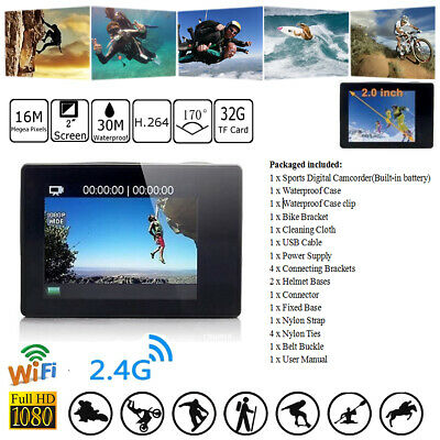 "4K 2"" 16MP 1080P WIFI Waterproof Sports Action Camera DVR Recorder DV Action CAM"