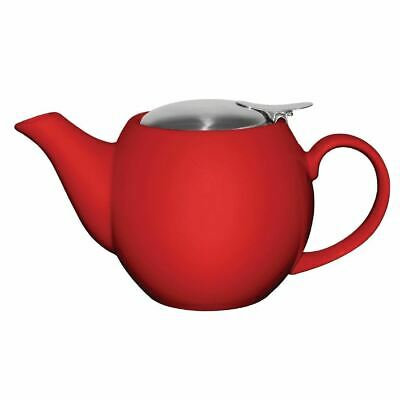 Olympia Cafe Teapot in Red with Removable Filter - Stoneware - 510 ml 18 Oz
