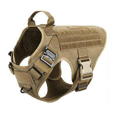 Tactical Dog harness K9 MOLLE Vest with Handle No Pulling Front Clip