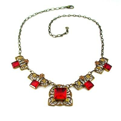 Antique Art Deco Bohemian Ruby Red Glass Brass Flower Filigree Princess Necklace