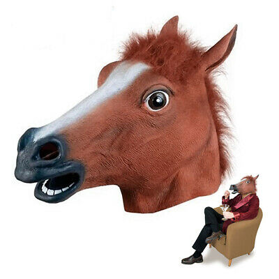 HORSE HEAD MASK RUBBER LATEX SILICONE PANTO FANCY DRESS PROP REALISTIC PARTY New
