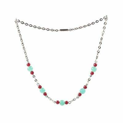 Vintage Art Deco chrome chain necklace Czech chrysoprase green red glass beads