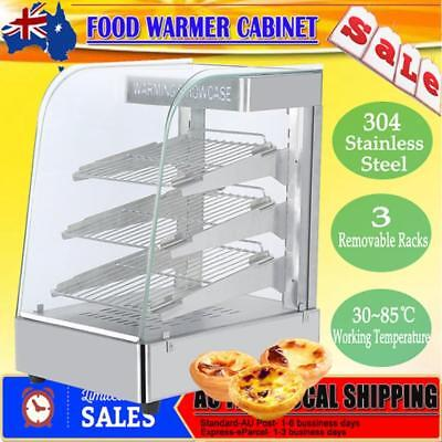 Commercial Food Warmer Stainless Steel Pizza Pie Hot Display Showcase Cabinet AU