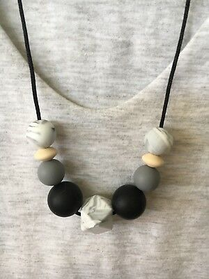 Silicone Necklace for Mum Jewellery Beads Aus Black Gift Present (was Teething)