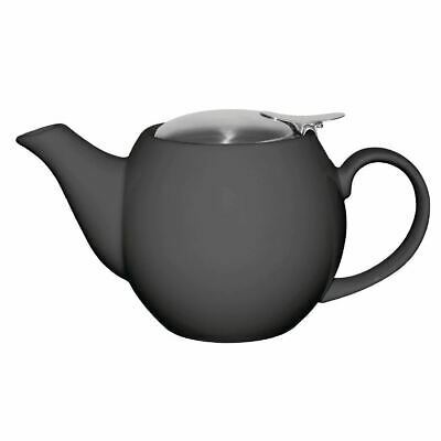 Olympia Cafe Teapot in Charcoal with Removable Filter - Stoneware - 510 ml 18 Oz