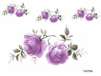 VinTaGe IMaGe XXL LiLac CoTTaGe RoSeS SHaBbY WaTerSLiDe DeCALs FuRNiTuRe SiZe