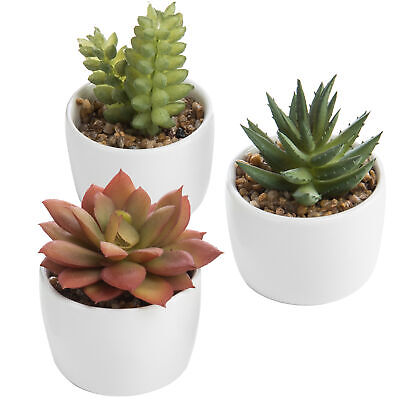 MyGift Set of 3 Assorted Faux Succulent Plants in White Ceramic Planters