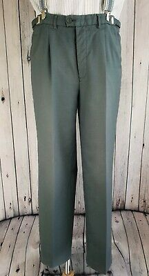 Vtg Grey  Pleated Button Fly Adjustable Waist PolyWool Trousers W31-35L31 JS46