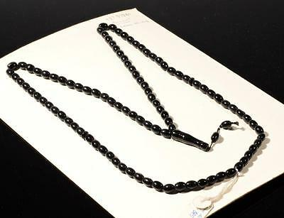 Vintage Czech 99 oval rondelle disc tube black glass Islamic prayer bead strand