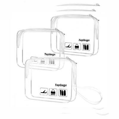 Topbags Clear Toiletry Bag 3 pcs/Packs,TSA Approved Travel Carry On Clear*3