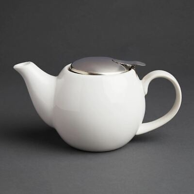 Olympia Cafe Teapot in White with Clip-on Stainless Steel Lid - 510ml