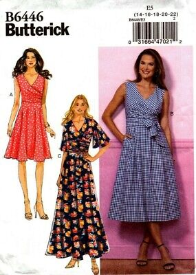 Butterick Sewing Pattern B6446 6446 Womens Wrap Dress Size 14-16-18-20-22 NEW