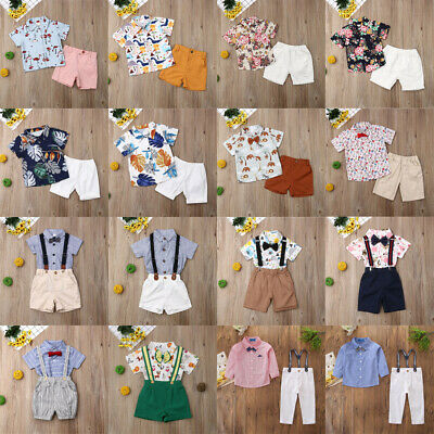 AU Toddler Kids Baby Boy Gentleman Outfits Sets Short T-Shirt+Pants Clothes 2PCS