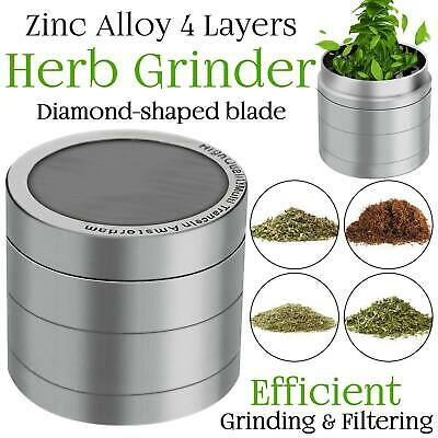 Herb Grinder Crusher for Tobacco 4 Piece  Metal Hand Muller Spice Silver US