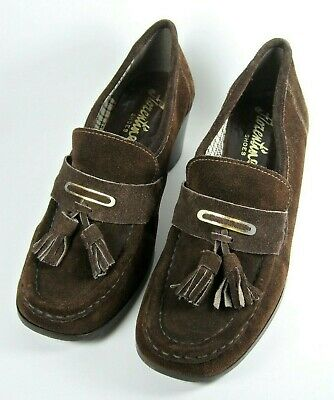 True Vintage 60s Italian Suede Leather Brown Tassel Loafers Heeled Court Shoes 5
