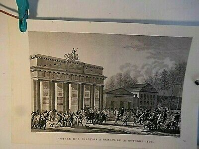Napoleon & French Grande Armee Enter Berlin-Brandenburg Gate:1806-1850 Engraving