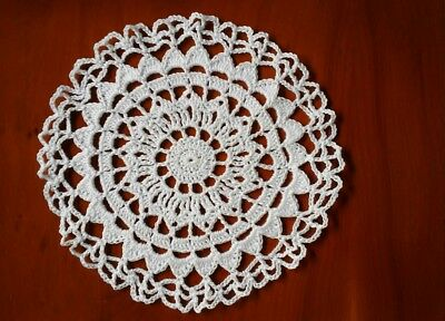 Crochet Cotton 16cm Coaster/Doily in White Shell Pattern ideal for Dreamcatcher