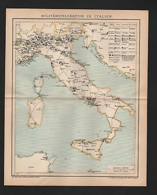 Landkarte map 1898: Militärdislokation in Italien.