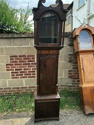 Antique Grandfather Longcase Clock Case Takes Dial Size Around 13ins By 18.5ins