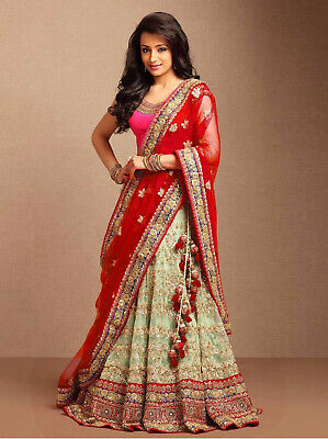 7281cc0a0d Latest Lehenga Indian Wedding Reception Lengha Choli Ghagra Blouse Red  Dupatta