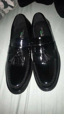 Italian Leather Loafers Black Size 8 UK Mens