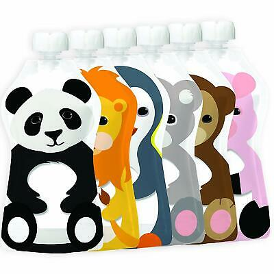 Reusable Squishy Baby Food Safe Pouch Storage Animal 6 Pack Large Zipper Lock