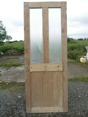 GL25c (29 3/4 x 78 1/2) Old Victorian Period Glazed Pine Door with Frosted Glass