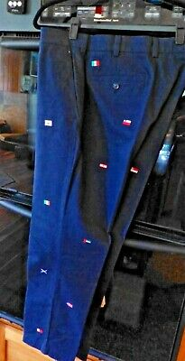 NWT Mens Brooks Brothers Navy Blue Khakis Clark FLAGS WORLD Embroidered $128 *3Z
