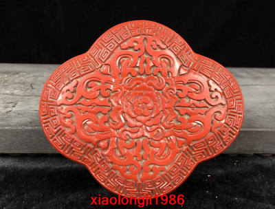 """5.8"""" old China antique Carve Flower red Lacquer ware Jewelry box"""