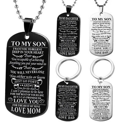 To My Son Daughter Dog Tags Love Gift Keychain Family Mom DAD Necklace Pendant
