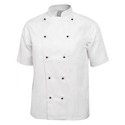 Whites Chicago Unisex Chef Jacket - Short Sleeve - White & Black Buttons - M