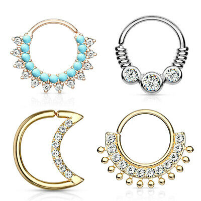 Bendable Hoop Rose Gold Silver Crystal Daith Septum Cartilage Piercing Nose Ring