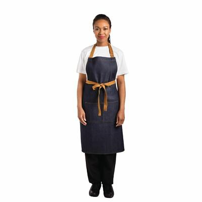 Whites Chefs Apparel Bib Apron Blue Denim - 700 x 1000mm