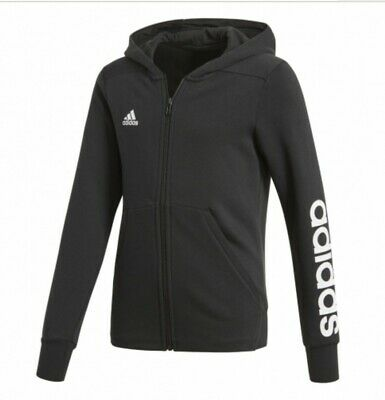 Adidas Linear Girls Kids Full Zip Hoodie Black 4 5 6 7 8 9 10