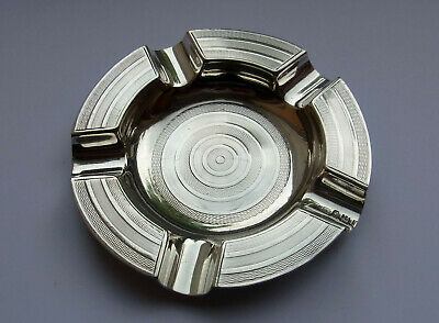 Antique Sterling Silver Ashtray - J.B of London 1934 - 81.1g - engine turned