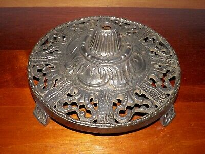 "Antique, vintage, Victorian, cast iron, decorative, floor lamp base. 10 1/8"" D"