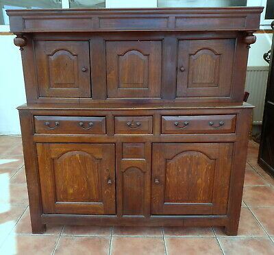 Oak Welsh Court Cupboard 1680 Secret Compartment   Free Shipping To England