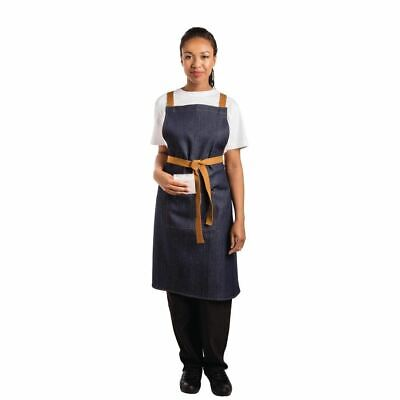 Whites Chefs Apparel X-Cross Back Apron Blue Denim - 700 x 1000mm