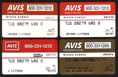 AVIS Rental Car Credit Cards: Group of 4 Incl President's Club. Exp 1981 //1990