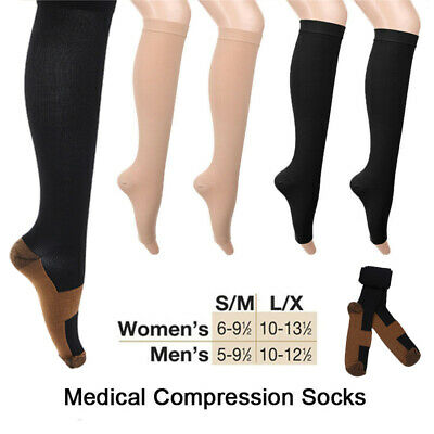 2x Medical Compression Socks Support Varicose Veins Open Toe 18-21mmHg Stockings