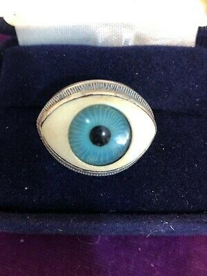 Vintage Silver Ring Blue Evil Eye Ring Sterling  Rare  Hand Crafted Size 6