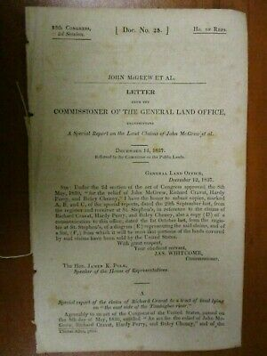 Government Report Dec 14 1837 Land Claims of John McGrew Tombigee River