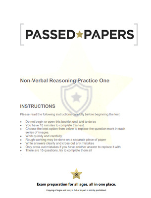 11+ Plus Non-Verbal Reasoning Mock Tests Test/Exam Papers FOR CEM/GL 1 Full Test