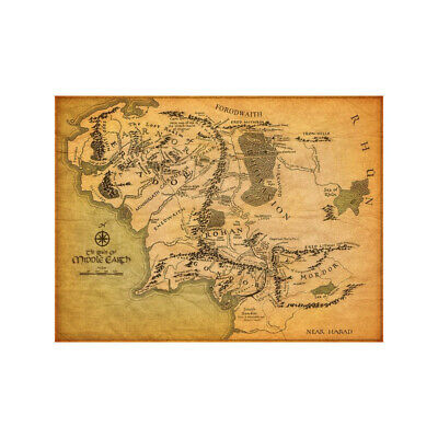 Map Of Middle Earth Lord Of The Rings Magic Poster Map Art Cloth Printing Photo