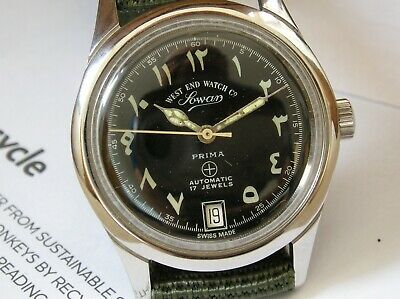 Vintage Swiss West End Military Arabic Automatic Gents Middle East Gents Watch