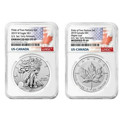 2019 Pride of Two Nations 2-Coin Set NGC PF 69 ER (Two Flags Label)