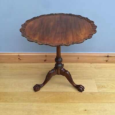 Antique Tilt Top Side Table Chippendale Style Pie Crust Top Old Occasional Wine