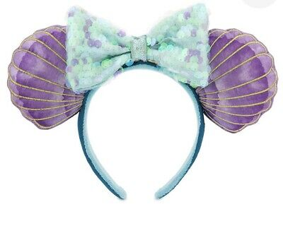 Disney Parks Little Mermaid Ariel Minnie Ears Headband New In Hand